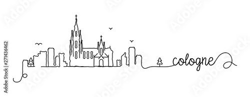 Fotomural Cologne City Skyline Doodle Sign