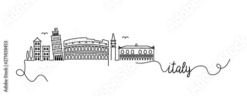 Italy City Skyline Doodle Sign