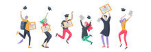 Group Smiling Graduates People In Graduation Gowns Holding Diplomas And Happy Jumping. Vector Illustration Concept Graduation Ceremony Cartoon Style