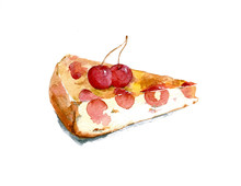 A Piece Of Fragrant Cherry Pie Decorated With Berries. Hand Drawn Watercolor Illustration Isolated On White Background