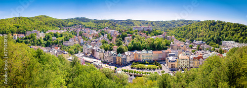 Spoed Foto op Canvas Panoramafoto s karlovy vary city panorama czech republic