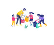 Collection of family hobby and activities. Mother, father and children collect garbage for recycling. Cartoon vector illustration