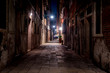 Typical street in Venice in winter's night with long exposure