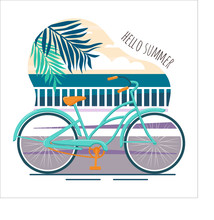 Summer Poster With A Bicycle On The Sea. Bicycle Outdoors On Coastline By The Sea Beach Over Blue Sky. Hello Summer