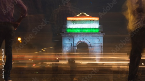 India gate during night time. Chaos during night. Wallpaper Mural