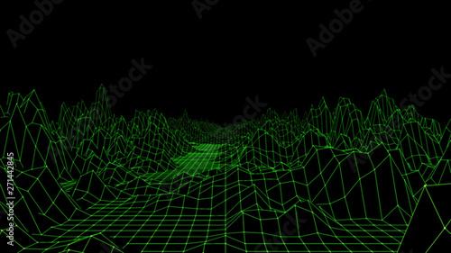 Montage in der Fensternische Schwarz Abstract Terrain Landscape 3d Render