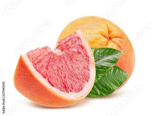 Fotografia  grapefruit with slice isolated on a white background
