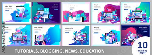 Fotografie, Obraz  Concept Landing page template Education people, Internet studying, online traini