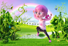 Happy Kid Girl Jumping With Outstretched Arms In The Magic Fairy Landscape With Rainbow. Funny Little Kid Cartoon Character Of A Kawaii Pretty Girl With Glasses And Pink Anime Hairs. 3D Render