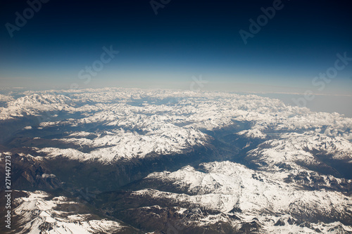 aerial view of the Alps mountains Wallpaper Mural