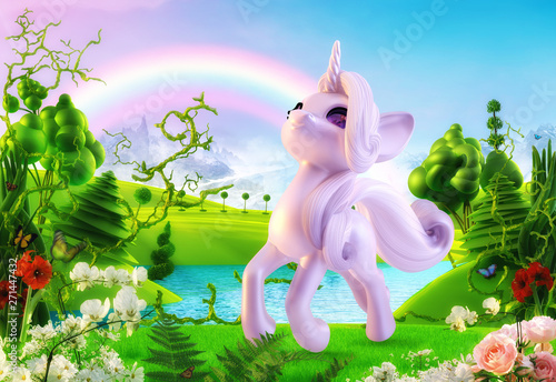 Fototapeta Jednorożec cute-funny-cheerful-smiling-unicorn-baby-magical-cartoon-toy-character-in-the-fairy-dream-landscape-background-with-magic-flowers-trees-rainbow-dream-fantasy-magic-land-concept-3d-illustration