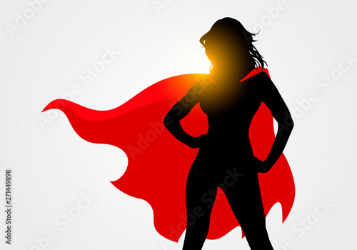 Fototapeta Vector Illustration Female Superhero Silhouette With Cape In Action Poses obraz
