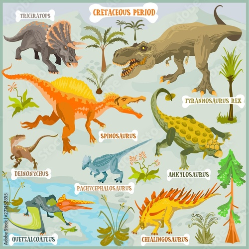 Dinosaurus of Cretaceous period vector format land illustration fantasy map buil Wallpaper Mural