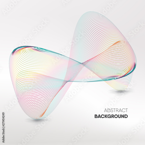 Fotografia  Abstract colorful infinity wave mesh 3D look on white background with space for