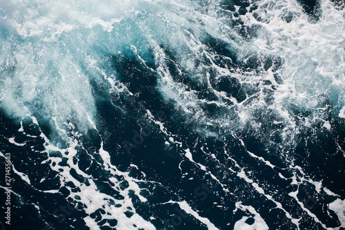blue green water in stormy sea - 271455683