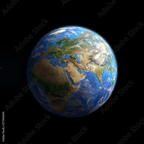 Planet Earth viewed from space, isolated on black