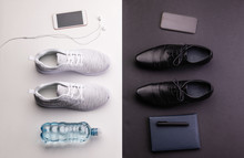 Sport And Relax After Office Work Concept. Studio Shot And Flat Lay.