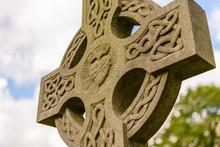 Old Irish Celtic Cross At An Old Graveyard