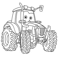 Coloring Page With Tractor Far...