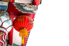 Dragon And Red Lantern On Chinese Temple Roof