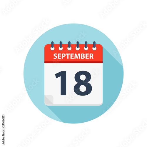 September 18 - Calendar Icon - Round Calendar design template Wallpaper Mural