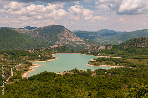 Foto auf Leinwand Olivgrun Castel San Vincenzo, Isernia, Molise, Italy. The lake. It is an artificial reservoir built at the end of the fifties for hydroelectric purposes. It occupies an area of 6.140 km².