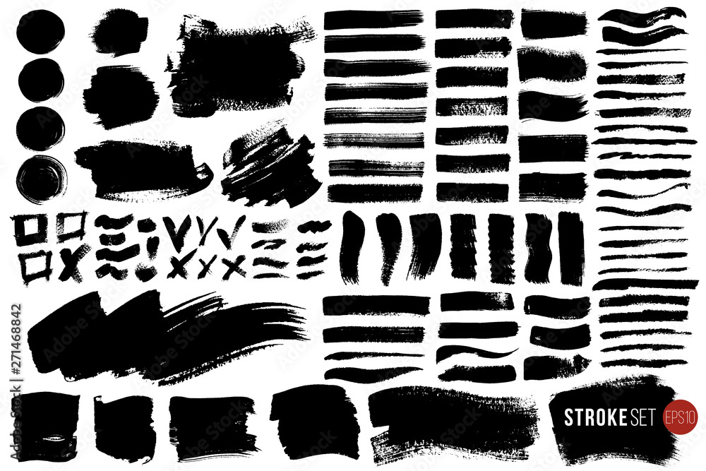 Fototapety, obrazy: Big vector set of hand drawn brush strokes and stains. One color monochrome artistic hand drawn backgrounds and graphic resources. Various shape ink spots.