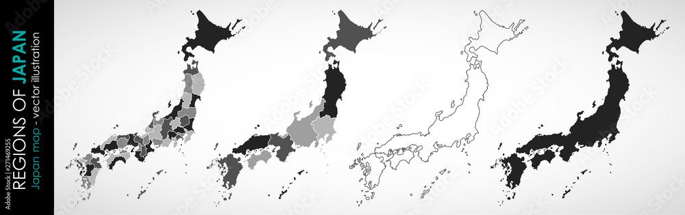 Ustaw wektor mapę Japonii w szary monochromatyczny