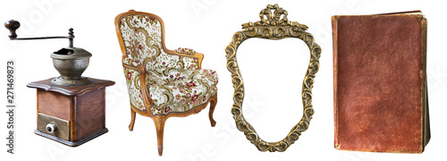 Obraz na plátně Set of beautiful antique items, picture frames, furniture, silverware