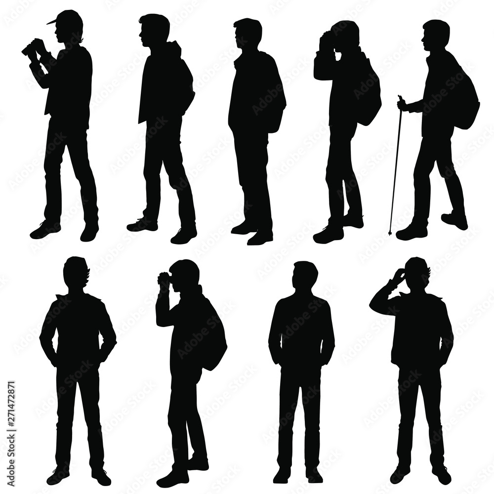 Fototapety, obrazy: Set vector silhouette of a teenager with a backpack, stick, binoculars, standing, group people, black color, isolated on white background