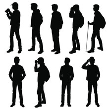 Set Vector Silhouette Of A Teenager With A Backpack, Stick, Binoculars, Standing, Group People, Black Color, Isolated On White Background