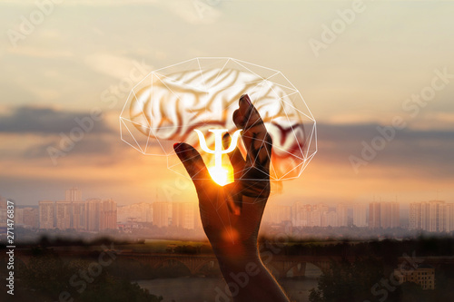 Obraz The hand shows the symbol of the psychologists . - fototapety do salonu