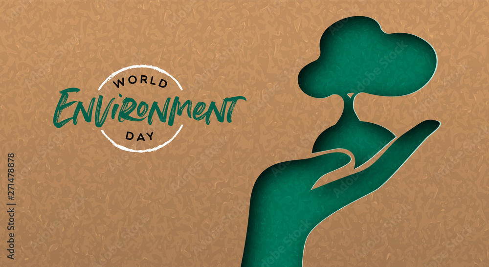 Fototapety, obrazy: Environment Day banner of cutout hand with tree