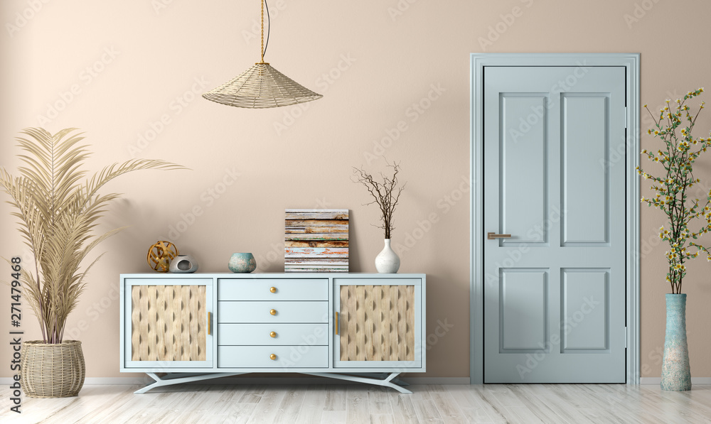 Fototapety, obrazy: Modern living room interior with door and sideboard 3d rendering