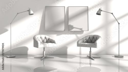 Poster Inde 3D illustration of interior design