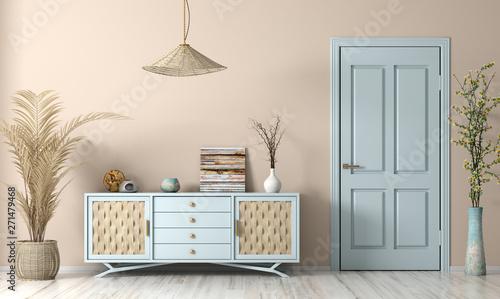 Modern living room interior with door and sideboard 3d rendering Canvas-taulu
