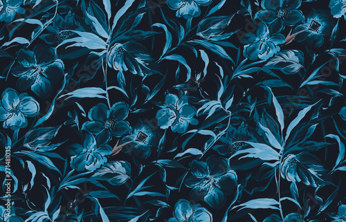 seamless mono blue watercolor flower background