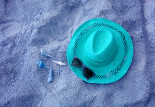 Aqua Blue Colored Of A Straw H...