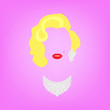 Portrait Fashion Woman Minimalist, Fashion Blonde Woman With Precious Jewels, Pearls And Diamonds, Vector Isolated On Pink Background