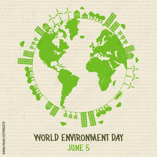 Canvas Print World Environment card of green earth globe