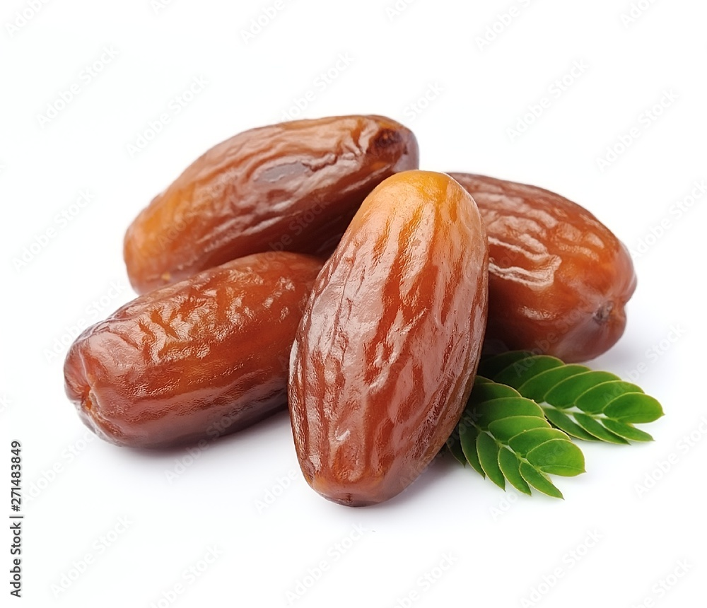 Fototapety, obrazy: Fruits dates with leaves .