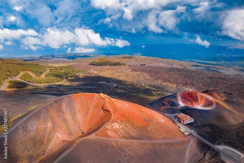 Montage in der Fensternische Lachs Extinct crater of volcano Etna Sicily, Italy. Aerial photo