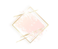 Gold Rhombus Frame With Pastel...