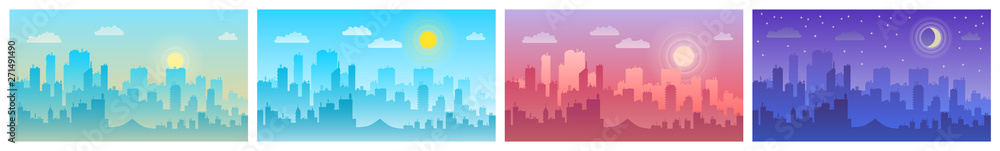 Fototapeta Daytime cityscape. Morning, day and night city skyline landscape, town buildings