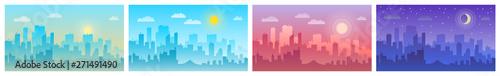 Obraz Daytime cityscape. Morning, day and night city skyline landscape, town buildings - fototapety do salonu