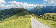 Panorama Eines Mountainbike Trails In Den Alpen