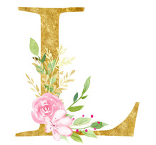 Capital L Letter With Flowers Raster Illustration