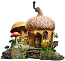 Acorn House And Mushrooms 3D Illustration