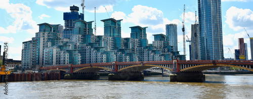 Skyscrapers of the City of London over the Thames , England Wallpaper Mural