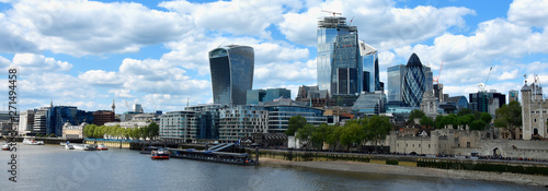 Photo  Skyscrapers of the City of London over the Thames , England
